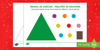 Brad de Crăciun - Fișă de exersare a abilităților de decupare - Craciun, română, decupare, controlul foarfecii, materiale, fișe, Romanian