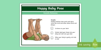 Yoga Happy Baby Pose Step-by-Step Instructions - Yoga, health, stress, calm, peace, KS1, KS2, well being, anxiety, work life balance, WLB