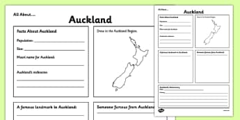 All About Auckland Writing Frame - Auckland, Anniversary, city, research
