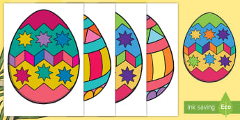Patterned Easter Egg Cut-Outs - Easter, egg, bunting, decoration, craft, instructions, template, pattern, colour, cutting, drawing,I