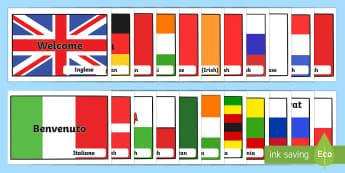 Benvenuto Internazionale sulle Bandiere Poster - Internazionali, bandiere, naazioni, benevuto, italiano, italian, poster, materiale, scolastico