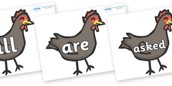 Tricky Words on Handa's Hen - Tricky words, DfES Letters and Sounds, Letters and sounds, display, words