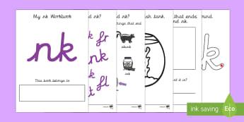 My 'nk' Letter Blend Workbook (Cursive) - workbook, nk, letters, blend, alphabet, activity, handwriting, blends, letter, letter blends, ng and nk worksheets