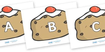 A-Z Alphabet on Buns - A-Z, A4, display, Alphabet frieze, Display letters, Letter posters, A-Z letters, Alphabet flashcards