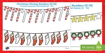 Christmas Missing Numbers 0 - 10 English/Italian - Christmas Missing Numbers Numberline Worksheet (0-10) - Christmas, xmas, missing number, number, ord