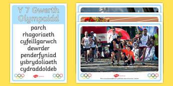 Cardiau Trafod Gwerthoedd Olympaidd A4 Display Poster-Welsh