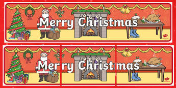 Merry Christmas Display Banner - merry christmas, display banner, banner, banner for display, classroom display, header, display header, themed banner