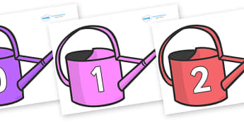 Numbers 0-100 on Watering Cans - 0-100, foundation stage numeracy, Number recognition, Number flashcards, counting, number frieze, Display numbers, number posters