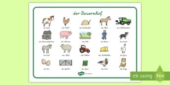 Bauernhof Wortschatz: Querformat - Bauernhof, Bauernhoftiere, Wortschatz, Lernhilfe, Schreibhilfe, Schreibvorlage,German