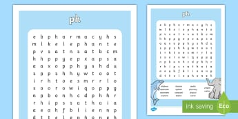 ph Sound Differentiated Word Search - reading, spelling, phonics, grammar, jolly phonics, jolly grammar, first class, second class, 1st cl