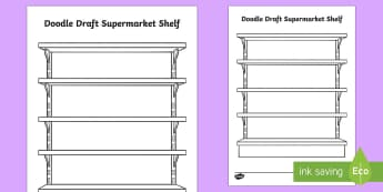 Doodle Draft Supermarket Shelf Activity Sheet