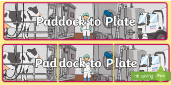 Paddock to Plate Display Banner - science, farm to plate, farming, milk, farms