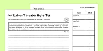 Mes études Traduction Higher Tier - french, Translation, Higher, Traduction, Studies, School