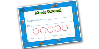 Music Themed Sticker Reward Certificate 30mm - music, reward certificate, sticker reward certificate, sticker certificate, music reward certificate, 30mm