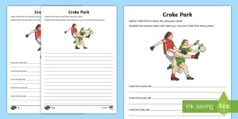 Croke Park Sensory Poem  Differentiated Activity Sheet - Summer, Gaelic, gAA, Football, Hurling, Croke Park, Ireland, Dublin, English, Poem, poetry,Irish