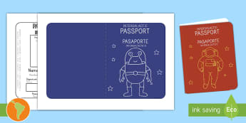 Space Passport Templates US English/Spanish (Latin) - Space Passport Template - Passport, space, intergalactic, Design, holiday, holidays, travel, passpor