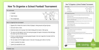 How To Organise a Football Tournament Adult Guidance - KS1, Key stage 1, Year 1, Year 2, Y1, Y2, PE, Football, Game, Team, Exercise, Sport, Tournament, Phy