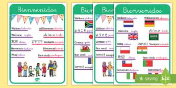 Pósters DIN A4: Bienvenidos Lenguas extranjeras - pósters, póster, DIN A4, exposición, exponer, decorar, decoración, bienvenidos, lengua extranjer