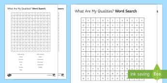 My Work-Related Qualities Word Search - work, quality, school, apply, skills, sen, ks3, ks4, send, pupil, help