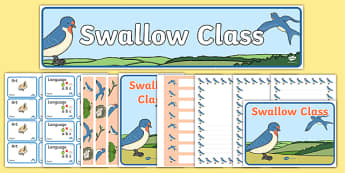 Swallow Class Resource Pack - class, set-up, room name, birds, swallow, animals, ks1, ks2, display,