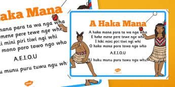 Māori Alphabet Song Display Poster A Haka Mana - nz, new zealand, Māori, alphabet, song
