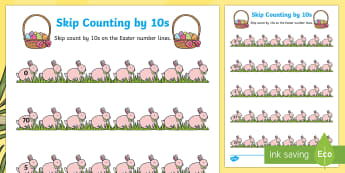Easter Skip Counting by 10s Activity Sheet - Australia Easter Maths, easter, australia, mathematics, skip counting, KS1, counting by 10s, number,
