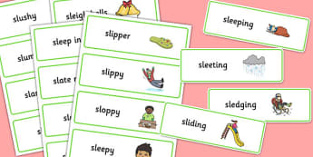 Two Syllable SL Sound Word Cards - sen, sound, sl sound, sl, sen, two syllable, word cards