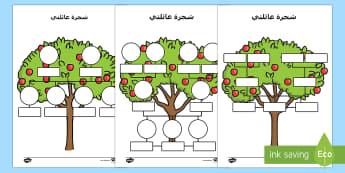 ورقة نشاط شجرة عائلتي - أسرتي، عائلتي، الأسرة، العائلة، شجرة العائلة، أفراد ا