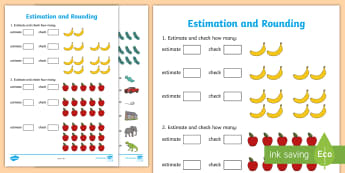 Early Level Assessment Estimation and Rounding Activity Sheet - CfE Early Level Assessment, numeracy, estimate, guess, check, count, maths, worksheet, Scottish