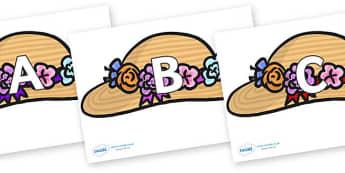 A-Z Alphabet on Bonnets - A-Z, A4, display, Alphabet frieze, Display letters, Letter posters, A-Z letters, Alphabet flashcards