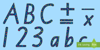 Polka Dot Display Lettering - New Zealand Back to School, polka dots, dotty, spotty, display