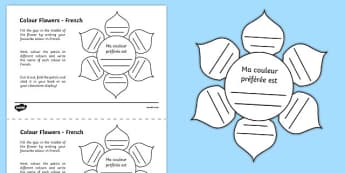 MFL French Colour Flowers Activity Sheet, worksheet