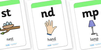 Large Blends and Clusters Image / Word Cards - Blends, Clusters, Mnemonic cards, DfES Letters and Sounds, Letters and sounds, Letter flashcards, Image and Word Cards