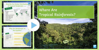 Where Are Tropical Rainforests? PowerPoint - Rainforests, exam, ks3, tropical, location