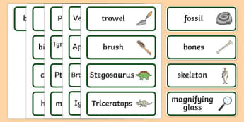 Dinosaur Museum Topic Word Cards - Dinosaur Museum Role Play Pack, Word cards, Word Card, flashcard, flashcards,museum, dinosaurs, fossils, tyrannosaurus, triceratops, pterodactyl, role play, display, poster
