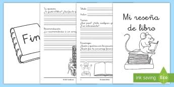 Cuadernillo: Mi reseña de libro - reseña de libro, reseña, resumen, trama, personajes, opinión, escritura, crítica de textos, crí