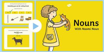 Types Of Nouns PowerPoint - nouns, powerpoint, words, grammar gang, vocabulary