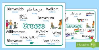 Matiau Geiriau Croeso Ieithoedd Cymysg -  Croeso, Welcome Display Resources, adnoddau arddangos, space, pirates, y gofod, mor-ladron, morladr