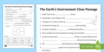 The Earth's Environment - Cloze Passage Activity Sheet - Literacy Integrated Unit, The Earths Environment, English, Geography, worksheet, Cloze, Year 3, Year