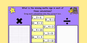 Missing Maths Signs Multiply or Divide for IWB - maths, IWB