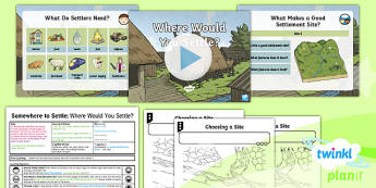 PlanIt - Geography Year 4 - Somewhere to Settle Lesson 2: Where Would You Settle? Lesson Pack - geography, settlement, settlers, maps
