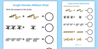 Jungle Animal Themed Addition Sheet - walking through the jungle, addition, sheet, walking through the jungle worksheet, addition worksheet, numeracy