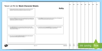 Character Revision Activity Sheets to Support Teaching on 'Never Let Me Go' by Kazuo Ishiguro - Secondary - 15 Minute Revision Activities, Never Let Me Go, Kazuo Ishiguro, Characters, Character Re