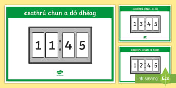 Digital 24 Hour Clocks   Quarter to Display Posters - Requests - ROI, Irish, Gaeilge, Maths, mata, time, am, clocks, clog, quarter to, ceathrú chun,Irish