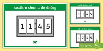Digital 24 Hour Clocks   Quarter to Display Posters - Requests - ROI, Irish, Gaeilge, Maths, mata, time, am, clocks, clog, quarter to, ceathrú chun,Irish