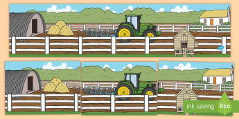 Small World Background (Farmyard) - Small World, backdrop, background, scenery, small world area, small world display, small world resources, farm, pig, cow, chicken, goat, tractor, farmer, chicken, goat