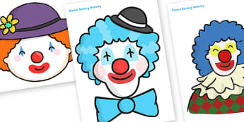 Clown Faces Sorting Activity - clown, clown faces, sorting activity, sorting, ordering, themed sorting activity, themed activity, clown sorting