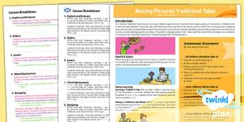 PlanIt - DT KS1 - Moving Pictures Traditional Tales Planning Overview CfE - planit, planning, overview, cfe