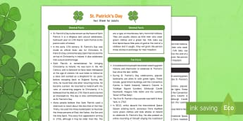 St Patrick's Day Fact Sheet for Adults - EYFS, Early Years, KS1, festival, St Patrick, Ireland, Irish, shamrock, leprechaun, green, facts, information, science, exploration, Understanding the World