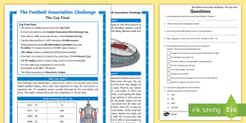 KS2 FA Cup Differentiated Reading Comprehension Activity -  - KS2, Events, Football, FA Cup, UKS2, LKS2,Two, Upper, Lower Key Stage 2, Years 5&6, 3&4, Events, The